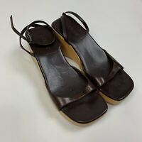 J Crew Sandals Size 7 Brown Leather Ankle Strap Wood Wedge Italy Retro Italian