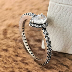 Authentic 925 Sterling Silver Classic Teardrop Halo Ring Clear CZ