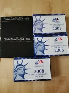 1974, 1976, 2001, 2006, 2008 proof set lot. Government issue proof sets.