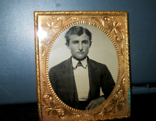 Antique 1/6th Size Tintype of Young man boy gentleman in brass frame/mat vintage