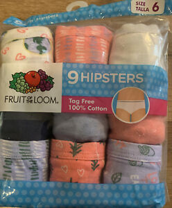 Girls' Fruit of the Loom 9 Pack Hipsters Underwear Size 6 New With Tags