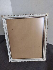 "Vtg Ornate Gold White Metal Picture Photo Frame 8""x10"" antique Easel back"
