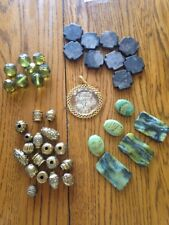 Lot Miscellaneous Beads Charm Green Gold Plastic And Glass Beads