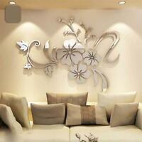 1Pc 3D Blume Rebe Spiegel Acryl Wandaufkleber DIY Art Mural Decal Zuhause Dekor