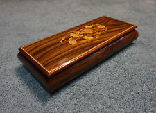 LONG ITALIAN HAND CRAFTED INLAID NATURAL WOOD JEWELRY MUSIC BOX 36.2x15.8x6.4 CM