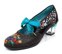 Poetic Licence NEW Birdie Bop black flower embroidered lace up shoes UK 3-9