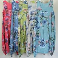 Summer Ladies Women Floral Italian Lagenlook Quirky Boho Pocket Linen Long Dress