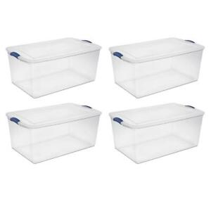 105qt Latch Box Storage Container Clear Plastic Handles/Latch with Lid, Set of 4