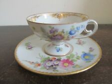 Dresden Germany Handpainted Demitasse Coffee Cup And Saucer Flowers Gold