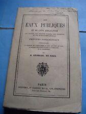 GRIMAUD DE CAUX Les EAUX PUBLIQUES 1863 ENVOI Signé BAGUETTE DIVINATOIRE HYGIENE