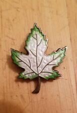 Vtg Rare Sterling Silver Maple green Enamel Leaf Pin Brooche DJSterling crown