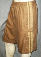 Nike Mens Woven Polyester Knee Length Shorts Lined 4-Pockets Beige Striped Large