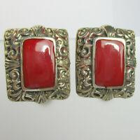 Vintage Estate Sterling Silver 925 RED Clip-On Earrings - 12.2 Grams