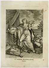 Antique Master Print-MARY MAGDALEN-PENITENT-WEEPING-Anonymous-ca. 1750