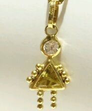 Solid 14k yellow gold clear and peridot gem August birthstone babygirl charm