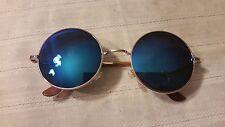 Vintage Style Sunglasses with Blue Round John Lennon Lenses