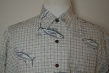 Guy Harvey Aftco Blue Water Button Front Check White Short Sleeve Shirt - Large