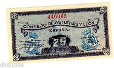 Espagne SPAIN ESPANA CONSEJO DE ASTURIAS Y LEON Billet 25 CTS ND 1936 NEUF UNC