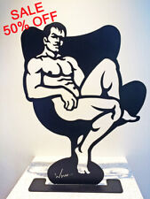 HIS CHAIR 20inch Steel sculpture by Wim Griffith male nude gay art