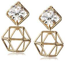 NEW Daniela Swaebe 18K Gold-Plated Origami Swarovski Crystal Earrings
