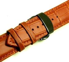 22mm Brown Croco Embossed Leather Watch Band Black Push Button Clasp With 2 pins