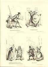 1840 VICTORIAN PRINT ~ SCENES IN LONDON Nos. 22 to 25 ~ HENRY HEATH CARICATURE