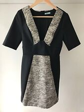 Kookai Black Bodycon Career Dress, Size 38 / Size 10, Metallic Contrast,Near New