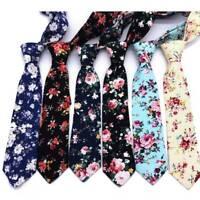 Fashion Men Floral Print Skinny Tie Suit Ties Slim Cotton Neck Tie Necktie
