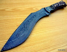 CUSTOM DAMASCUS STEEL HUNTING BOWIE KNIFE / BUSH CRAFT KUKRI / SWORD / RAM HORN