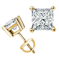 Stud Earrings - 14k Yellow Gold/Silver .75 ct. White Sapphire Round Screw back