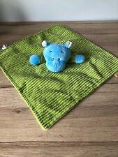 HIPPO - Blue & Green Corduroy Baby Blanket Comforter Made By Little Safari VGC