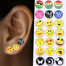 12pairs Lots Of Cute Emoji Lovely Face Ear Studs Earrings Women Party Jewelry