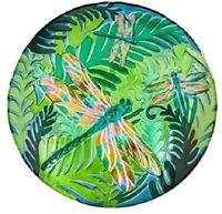 Boho Colorful Dragonfly Design 18 inch Glass Birdbath Bowl
