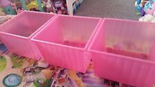 Ikea 3 Plastic swivel wheels stackable Pink storage/toy containers