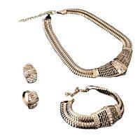 Fashion Jewelry Women Crystal Pendant Chain Choker Collar Bib Necklace Set BR