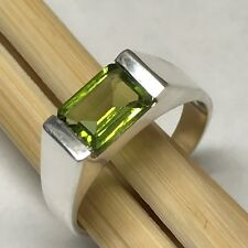 Genuine 2ct Apple Green Peridot 925 Sterling Silver Solitaire Men's Ring 8
