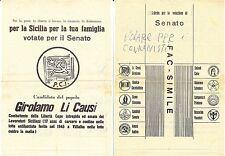 FAC SIMILE - SENATO - VOTATE LA LISTA DEL PARTITO COMUNISTA - GIROLAMO LI CAUSI