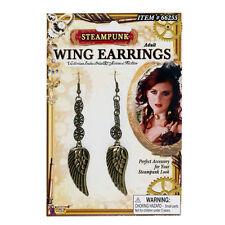 Steampunk Wing Earrings & Small Gears Metal Adult Halloween Costume Accessory