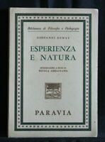 ESPERIENZA E NATURA. Giovanni Dewey. Paravia.