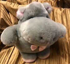 Playful Pals For Mervyn's Vintage Plush Gray Hippo Hippopotamus Pink Bow 10 Inch