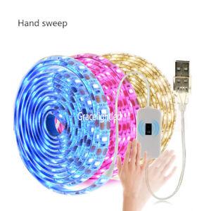 5V USB LED Strip 2835 Hand Sweep Sensor Flexible LED Light Pink Blue Backlight