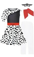 Cruella Deville Costume for Kids Dress with Mask, Tights, Red Gloves Size 5-6