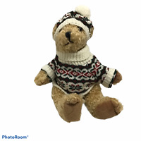 "HollyBeary USA Theodor Plush Teddy Bear Jointed 12"" Curly Fur w hat sweater tag"