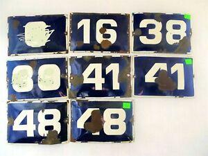 Vintage Enamel Porcelain Sign House Door Number ,16,38,41,48 Cobalt Blue