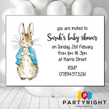 Personalised Peter Rabbit Girl Or Boy Baby Shower Invites Party Card - 10
