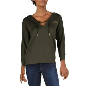 Bebe Sport Women's Fleece Lace Up Dolman Sleeve Active Logo Hoodie