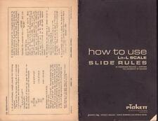 "PICKETT ""HOW TO USE Ln-L SCALE SLIDE RULES"" SOFT COVER 16 PAGES VERY GOOD COND"