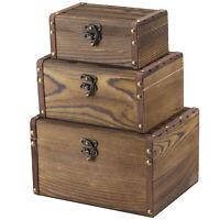 MyGift Set of 3 Vintage Brown Wood Decorative Nesting Jewelry Storage Chest Box