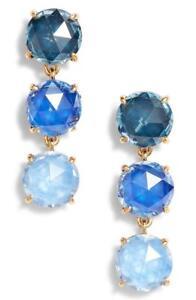 NWT Kate Spade New York Bright Ideas Triple Stone Earrings Blue Multi MSRP $68