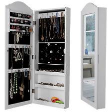 SONGMICS White Jewellery cabinet Wall Mounted Mirror 96 x 35 cm JBC83W